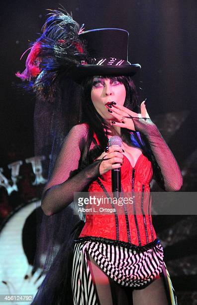 Entertainer Elvira Mistress Of The Dark hosts her show 'Elvira's Big Top' at the 42nd Annual Knott's Scary Farm Media Night held at Knott's Berry...