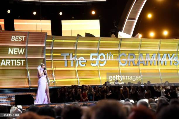 Entertainer Jennifer Lopez speaks onstage during The 59th GRAMMY Awards at STAPLES Center on February 12 2017 in Los Angeles California