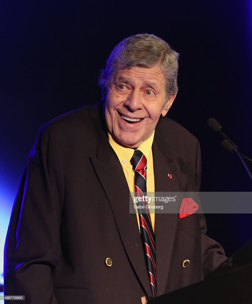 Entertainer <a gi-track='captionPersonalityLinkClicked' href=/galleries/search?phrase=Jerry+Lewis+-+Comedian&family=editorial&specificpeople=202947 ng-click='$event.stopPropagation()'>Jerry Lewis</a> accepts the 2015 Casino Entertainment Legend Award at Global Gaming Expo's (G2E) Casino Entertainment Awards at Vinyl inside the Hard Rock Hotel & Casino on September 30, 2015 in Las Vegas, Nevada.