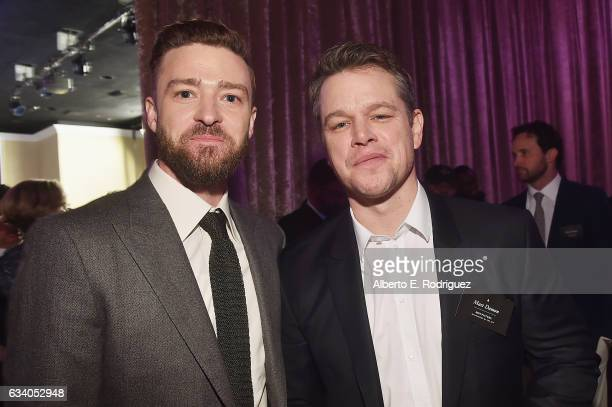 Entertainer Justin Timberlake and actor/producer Matt Damon attend the 89th Annual Academy Awards Nominee Luncheon at The Beverly Hilton Hotel on...