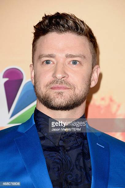 Entertainer Justin Timberlake winner of the iHeartRadio Innovator Award poses in the press room during the 2015 iHeartRadio Music Awards which...