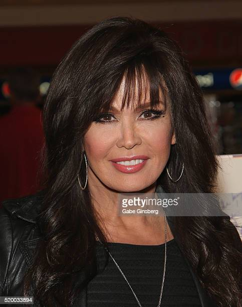 Entertainer Marie Osmond poses before she signs copies of her new album 'Music is Medicine' at Flamingo Las Vegas on April 9 2016 in Las Vegas Nevada