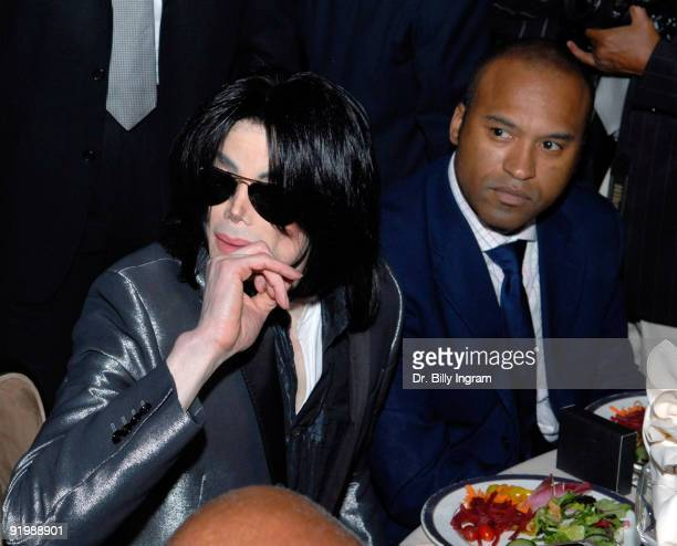 Entertainer Michael Jackson and L Londell McMillan attend Jesse Jackson's 65th birthday at the Beverly Hilton Hotel on November 8 2007 in Beverly...