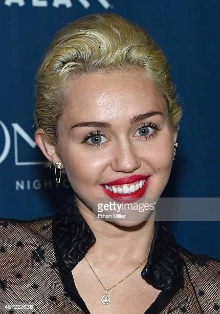 Entertainer Miley Cyrus makes an appearance at Omnia Nightclub at Caesars Palace on March 22 2015 in Las Vegas Nevada