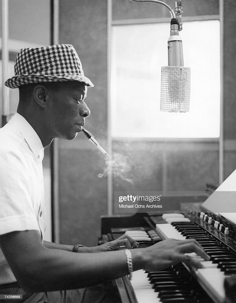 Entertainer Nat 'King' Cole records at Capitol Recording Studios in circa 1963 in Los Angeles, California.
