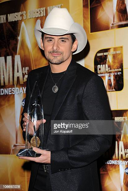 Entertainer of the Year Brad Paisley attends the 44th Annual CMA Awards at the Bridgestone Arena on November 10 2010 in Nashville Tennessee