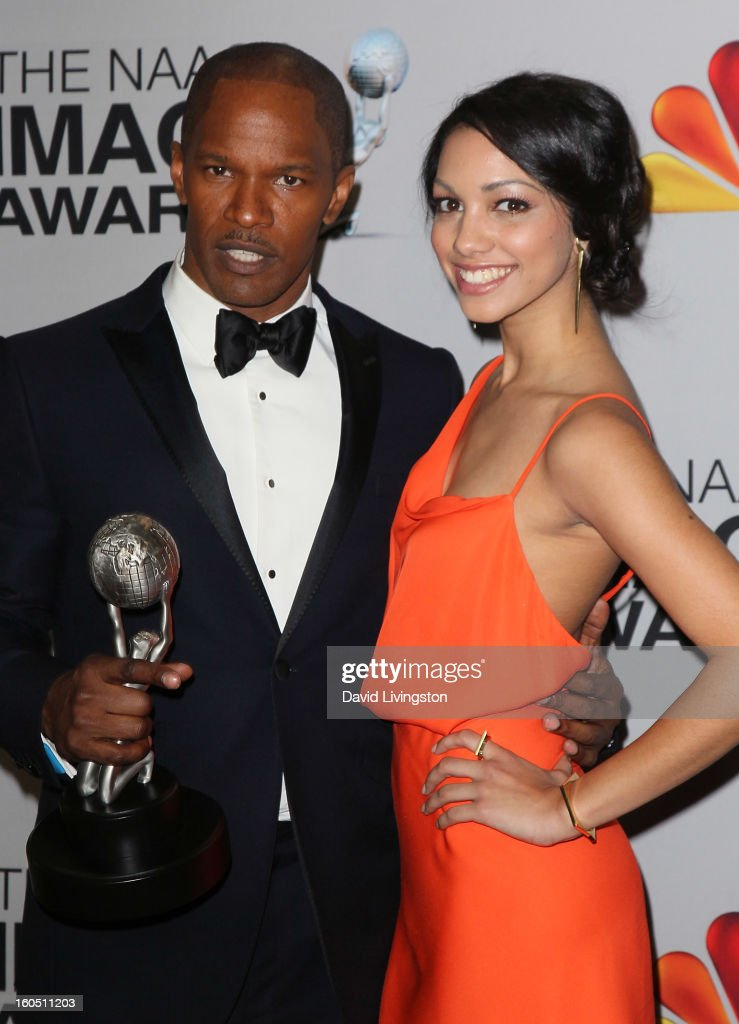 Entertainer of the Year recipient actor <a gi-track='captionPersonalityLinkClicked' href=/galleries/search?phrase=Jamie+Foxx&family=editorial&specificpeople=201715 ng-click='$event.stopPropagation()'>Jamie Foxx</a> (L) and daughter Corinne Bishop pose in the press room at the 44th NAACP Image Awards at the Shrine Auditorium on February 1, 2013 in Los Angeles, California.