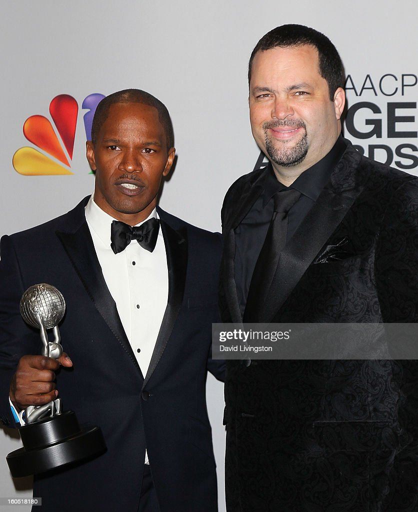 Entertainer of the Year recipient actor <a gi-track='captionPersonalityLinkClicked' href=/galleries/search?phrase=Jamie+Foxx&family=editorial&specificpeople=201715 ng-click='$event.stopPropagation()'>Jamie Foxx</a> (L) and NAACP president <a gi-track='captionPersonalityLinkClicked' href=/galleries/search?phrase=Benjamin+Jealous&family=editorial&specificpeople=5707196 ng-click='$event.stopPropagation()'>Benjamin Jealous</a> pose in the press room at the 44th NAACP Image Awards at the Shrine Auditorium on February 1, 2013 in Los Angeles, California.
