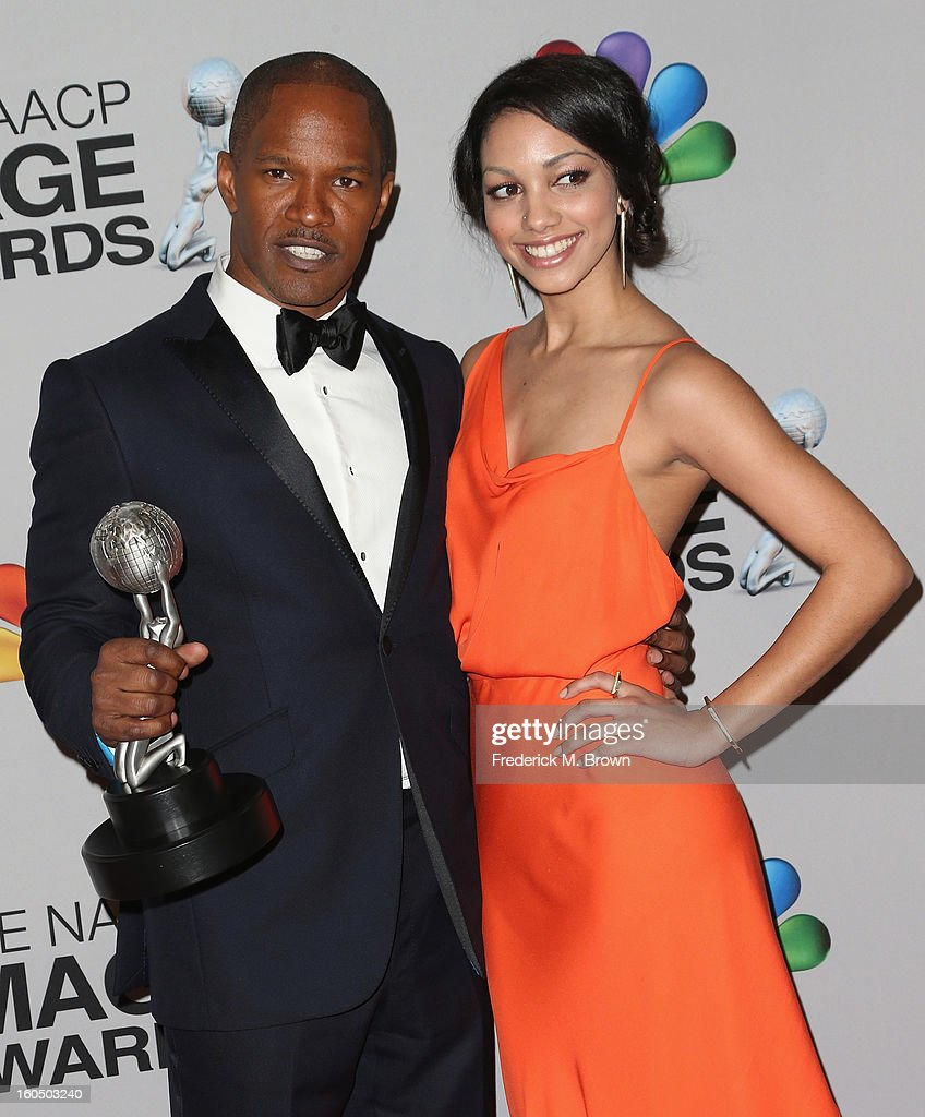 Entertainer of the Year recipient <a gi-track='captionPersonalityLinkClicked' href=/galleries/search?phrase=Jamie+Foxx&family=editorial&specificpeople=201715 ng-click='$event.stopPropagation()'>Jamie Foxx</a> (L) and Corinne Bishop pose in the press room during the 44th NAACP Image Awards at The Shrine Auditorium on February 1, 2013 in Los Angeles, California.