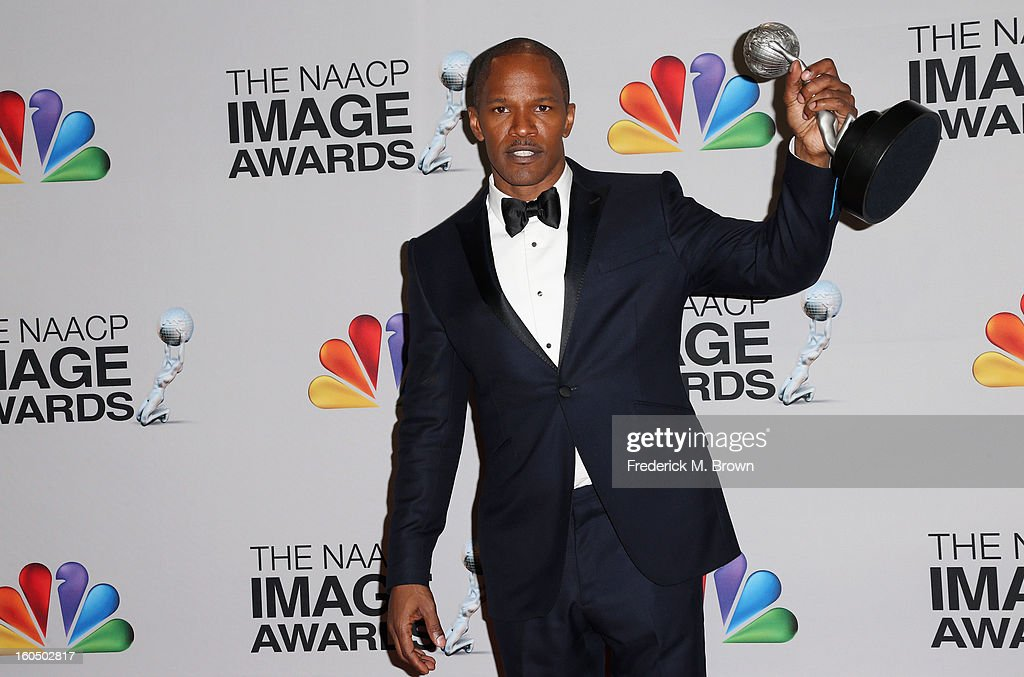 Entertainer of the Year recipient <a gi-track='captionPersonalityLinkClicked' href=/galleries/search?phrase=Jamie+Foxx&family=editorial&specificpeople=201715 ng-click='$event.stopPropagation()'>Jamie Foxx</a> poses in the press room during the 44th NAACP Image Awards at The Shrine Auditorium on February 1, 2013 in Los Angeles, California.