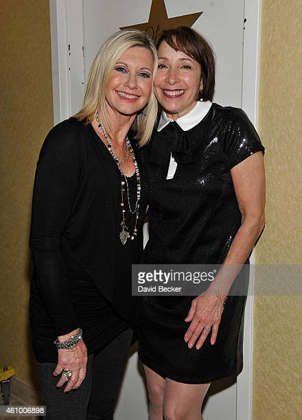 Entertainer Olivia NewtonJohn and actress Didi Conn appear after they performed 'Summer Nights' together at Flamingo Las Vegas on January 3 2015 in...