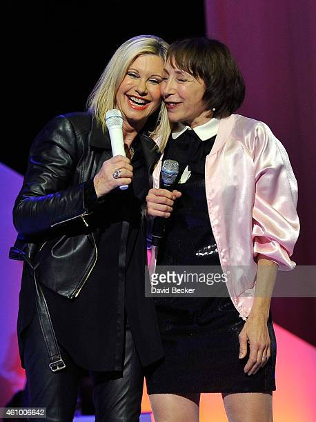 Entertainer Olivia NewtonJohn and actress Didi Conn reunite on stage to perform 'Summer Nights' at Flamingo Las Vegas on January 3 2015 in Las Vegas...