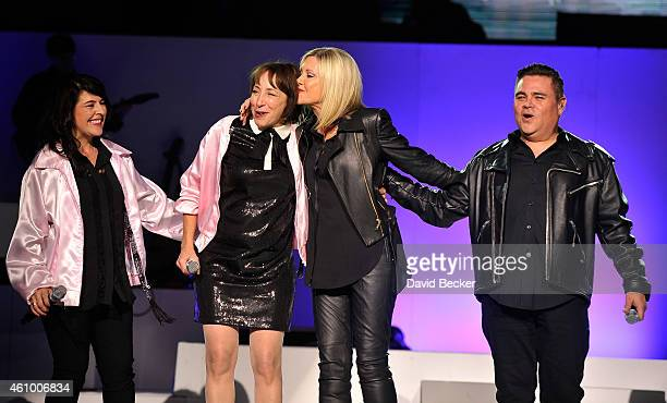 Entertainer Olivia NewtonJohn and actress Didi Conn reunite on stage to perform 'Summer Nights' with back up singers Marlen Landin and Steve Real at...
