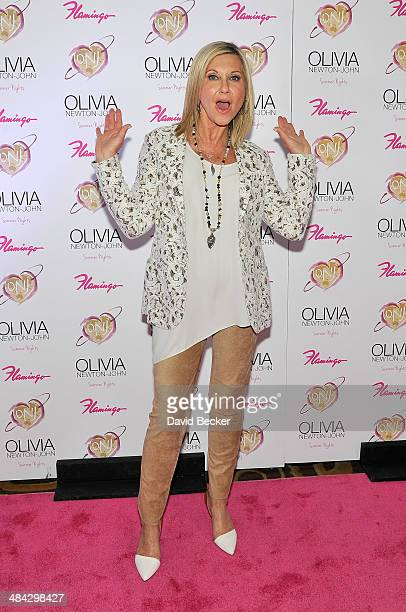 Entertainer Olivia NewtonJohn attends the grand opening of her residency show 'Summer Nights' at Flamingo Las Vegas on April 11 2014 in Las Vegas...