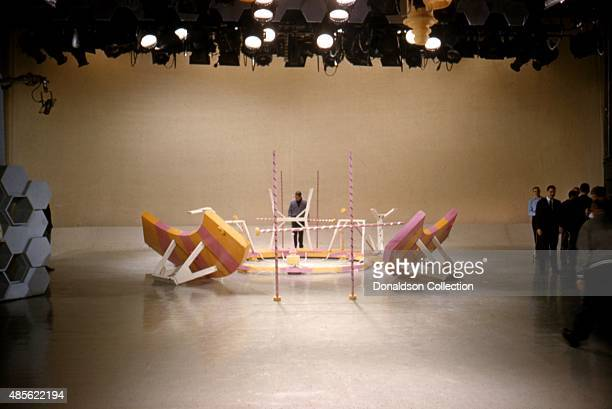Entertainer Perry Como rehearses on set of his TV show 'Perry Como's Kraft Music Hall' in New York