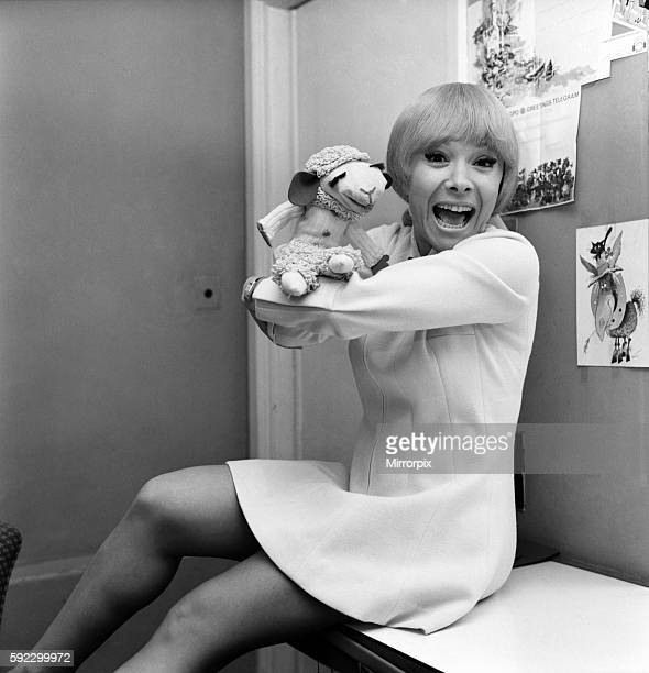 Entertainer Shari Lewis with puppet Lamb Chop in her dressing room backstage at at the London Palladium during the Royal Variety show rehearsals This...