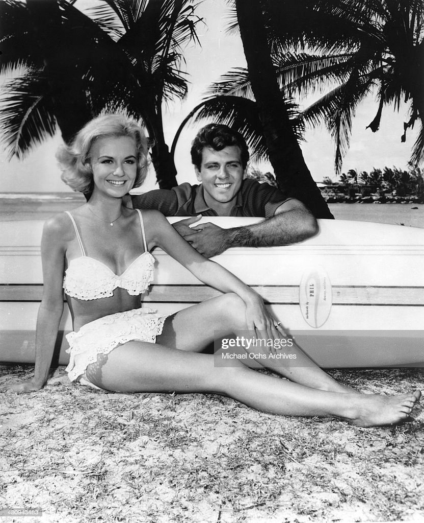 Entertainer Shelley Fabares and Fabian pose for a portrait on the set of the movie 'Ride The Wild Surf' which was released in 1964