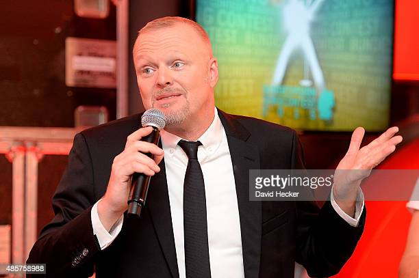 Entertainer Stefan Raab after the Bundesvision Song Contest 2015 at OVBArena on August 29 2015 in Bremen Germany On the left Entertainer Stefan Raab