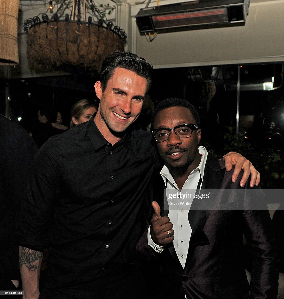 Entertainers Adam Levine and Anthony Hamilton attend the Maroon 5 Grammy After Party & Adam Levine Fragrance Launch Event on February 10, 2013 in West Hollywood, California.