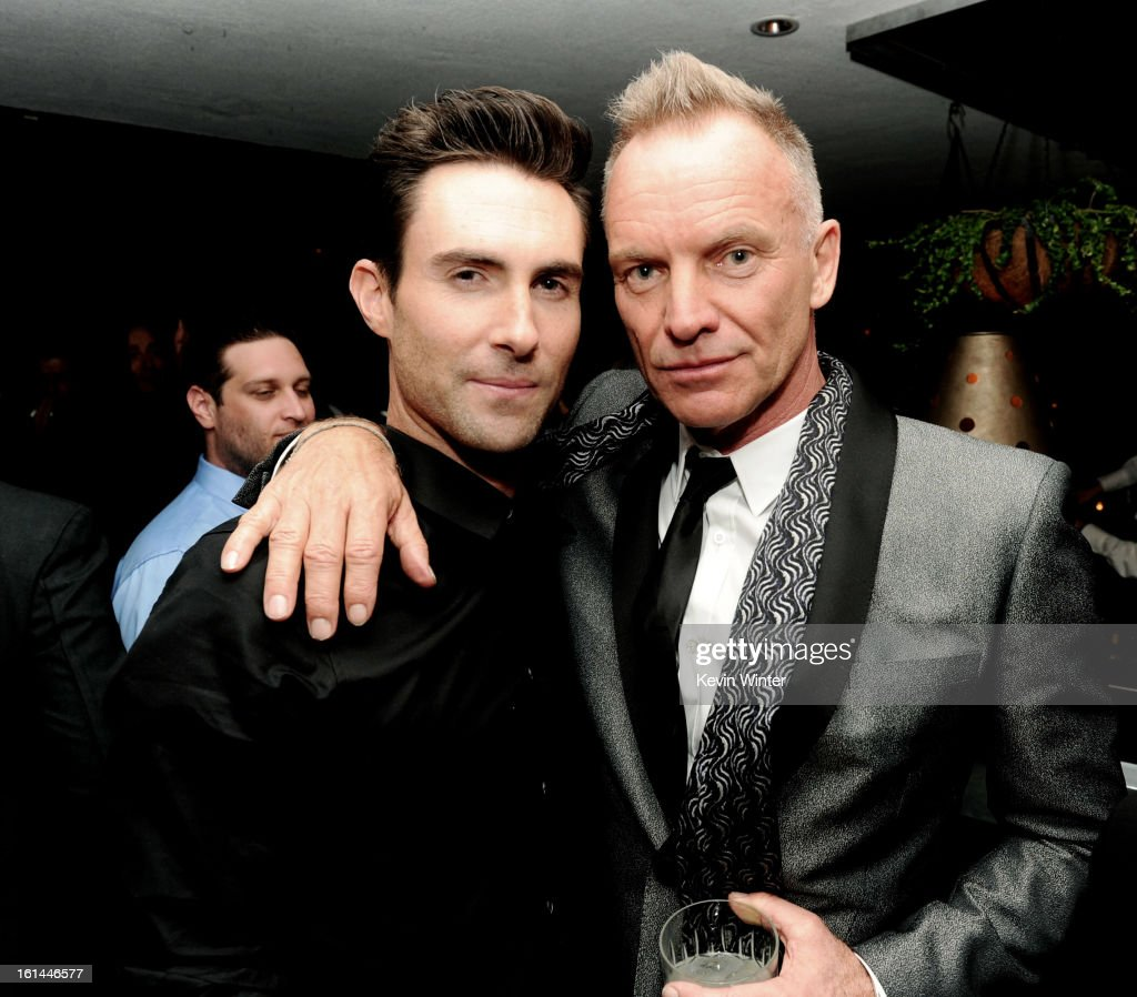Entertainers <a gi-track='captionPersonalityLinkClicked' href=/galleries/search?phrase=Adam+Levine+-+Singer&family=editorial&specificpeople=202962 ng-click='$event.stopPropagation()'>Adam Levine</a> and Sting attend the Maroon 5 Grammy After Party & <a gi-track='captionPersonalityLinkClicked' href=/galleries/search?phrase=Adam+Levine+-+Singer&family=editorial&specificpeople=202962 ng-click='$event.stopPropagation()'>Adam Levine</a> Fragrance Launch Event on February 10, 2013 in West Hollywood, California.