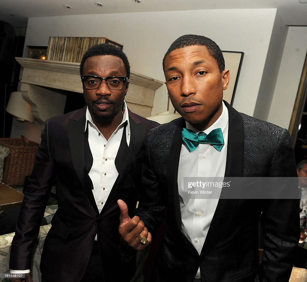 Entertainers Anthony Hamilton and <a gi-track='captionPersonalityLinkClicked' href=/galleries/search?phrase=Pharrell+Williams&family=editorial&specificpeople=161396 ng-click='$event.stopPropagation()'>Pharrell Williams</a> attend the Maroon 5 Grammy After Party & Adam Levine Fragrance Launch Event on February 10, 2013 in West Hollywood, California.