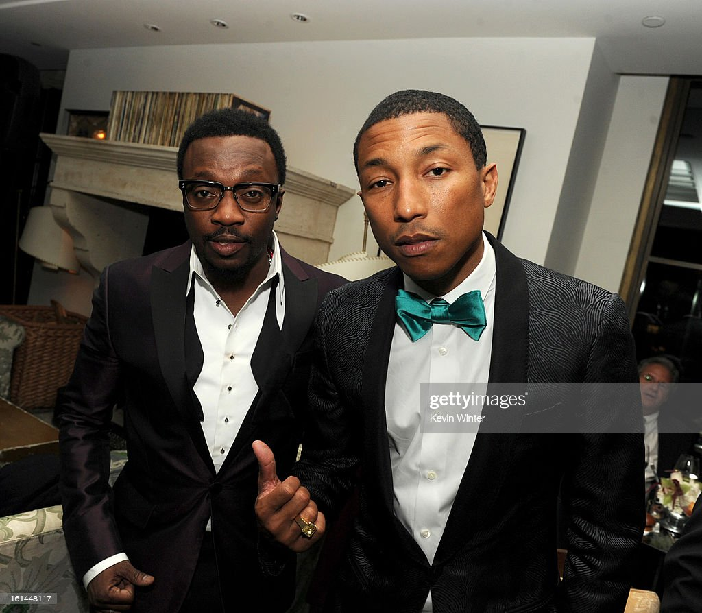 Entertainers Anthony Hamilton and Pharrell Williams attend the Maroon 5 Grammy After Party & Adam Levine Fragrance Launch Event on February 10, 2013 in West Hollywood, California.
