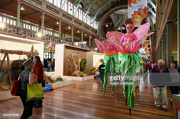 Entertainers are seen at the 18th annual International Flower and Garden Show held at the Royal Exhibition Building and the surrounding Carlton...