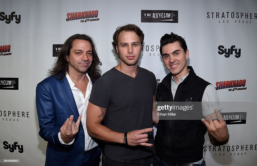Entertainers Chris Cicchino Brett Stoelker and Paul Johnson from the show 'Rock of Ages' attend the premiere of Syfy's 'Sharknado The 4th Awakens' at...