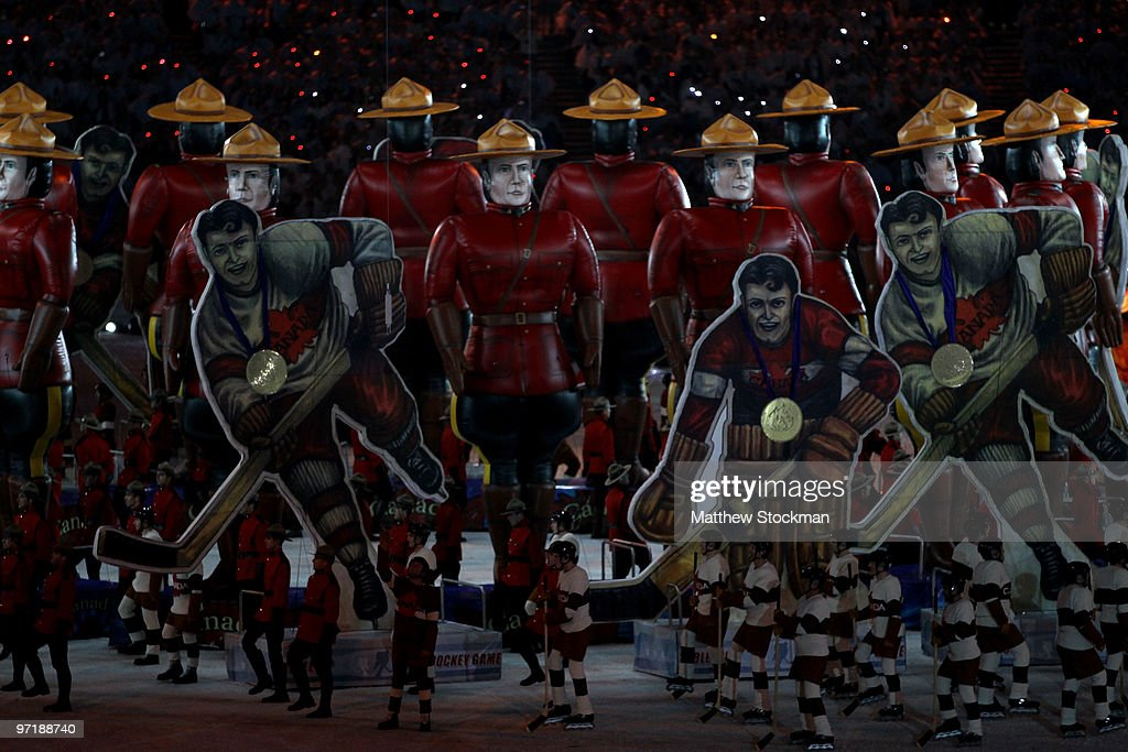 Entertainers dressed as hockey players perform during the Closing Ceremony of the Vancouver 2010 Winter Olympics at BC Place on February 28, 2010 in Vancouver, Canada.