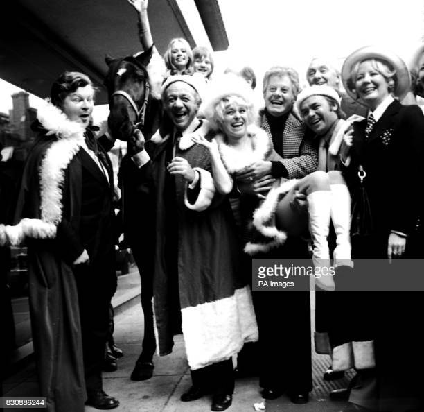 Entertainers due to appear on ITV at Christmas were gathered together for a party at the New London Theatre From left are Benny Hill the horse Black...