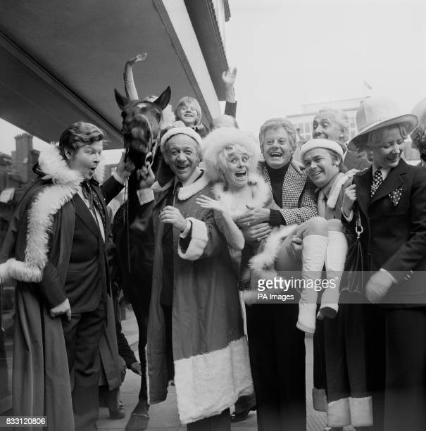 Entertainers due to appear on ITV at Christmas were gathered together for a party at the New London Theatre today From left are Benny Hill the horse...