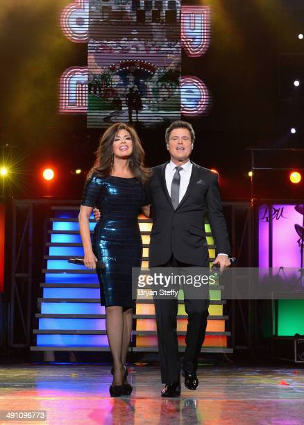 Entertainers Marie Osmond and Donny Osmond perform during their 1000th Donny Marie variety show at Flamingo Las Vegas on May 15 2014 in Las Vegas...
