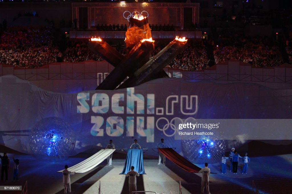 Entertainers perform during the Sochi 2014 Cultural Presentation during the Closing Ceremony of the Vancouver 2010 Winter Olympics at BC Place on...