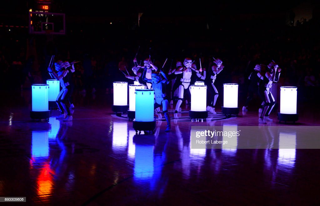 Entertainers perform during the the pre game show, as it was Star Wars night during the game between the Toronto Raptors and the Los Angeles Clippers on December 11, 2017 at STAPLES Center in Los Angeles, California.