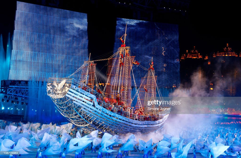 Entertainers perform on a ship during the Opening Ceremony for the 16th Asian Games Guangzhou 2010 at Haixinsha Square on November 12, 2010 in Guangzhou, China.
