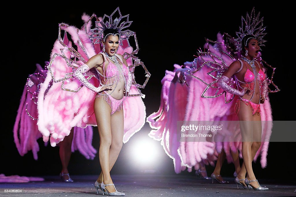 Entertainers perform on stage during a media call for the Thai Ladyboy Superstar Cabaret in the Big Top at The Entertainment Quarter on May 25, 2016 in Sydney, Australia.