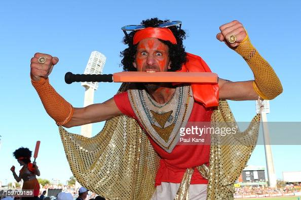 Entertainers pose during the Big Bash League final match between the Perth Scorchers and the Brisbane Heat at the WACA on January 19 2013 in Perth...