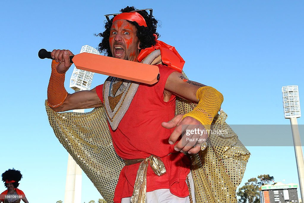 Entertainers pose during the Big Bash League final match between the Perth Scorchers and the Brisbane Heat at the WACA on January 19, 2013 in Perth, Australia.