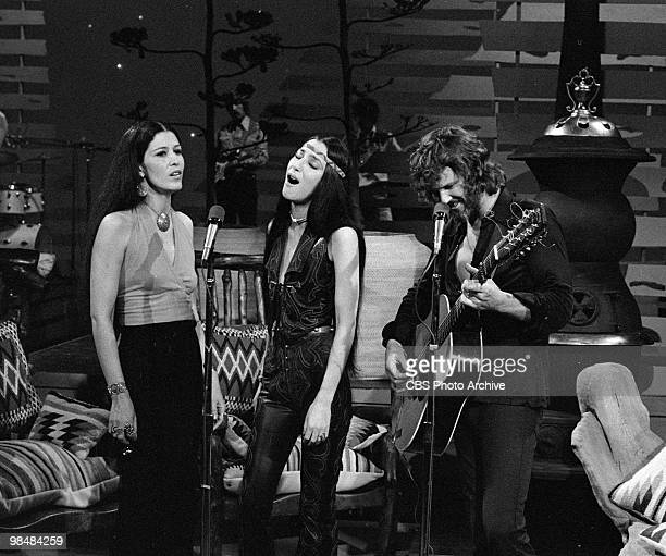 Entertainers Rita Coolidge Cher and Kris Kristofferson on 'The Carol Bunett Show' on March 14 1975 in Los Angeles California