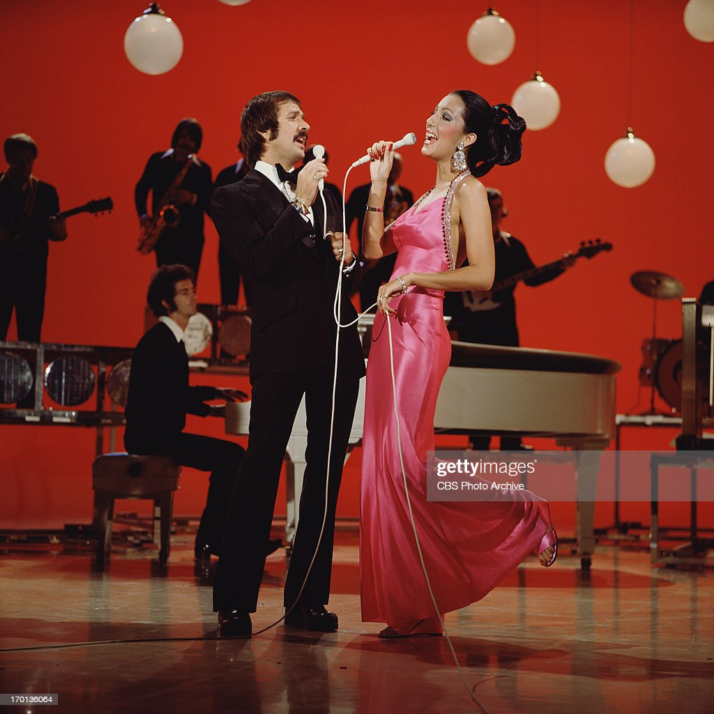Entertainers Sonny Bono and Cher perform on their CBS television program 'The Sonny Cher Comedy Hour' in 1973