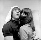 Entertainers Sonny Bono Cher pose for a portrait session in 1965 in Los Angeles California