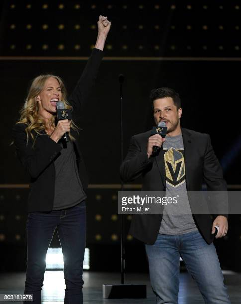 Entertainers Stephanie 'Smithy' Smith and Mark Shunock speak during the 2017 NHL Awards at TMobile Arena on June 21 2017 in Las Vegas Nevada