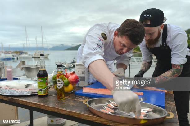 Entertaining chefs Tor Jorgen Kramprud Arnesen and Jon Marius Sletten of the world Famous Flying Culinary Circus prepare some extraordinary dishes in...