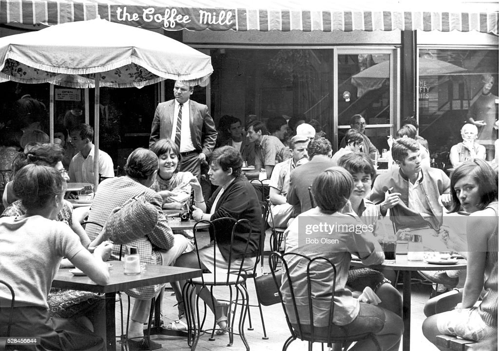 20140826; ONT; Entertainment; E1 -- The Coffee Mill, in August 1967, in its original location in a courtyard off Bloor St. W. R. Olsen/Toronto Star File Photo Seat in the sun watching Bloor St. go by. An old world pastime for Toronto's lunchtime sun-seekers.