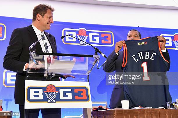 Entertainment executive Jeff Kwatinetz and Ice Cube attend a press conference announcing the launch of the BIG3 a new professional 3on3 basketball...