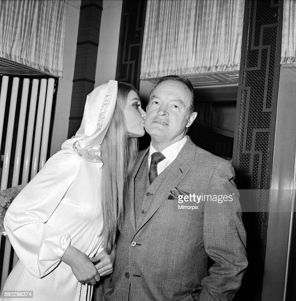 Film actor Bob Hope opens 'how to commit marriage' at The New Victoria Theatre Bob Hope gets a kiss from Miss World Eva RueberStaier December 1969...
