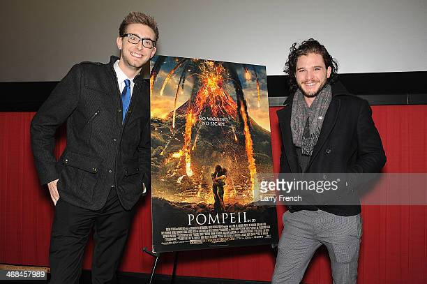 Entertainment Host for WTTG TV Kevin McCarthy and actor Kit Harington are seen at Sony Pictures' 'Pompeii' Washington DC Special Screening at Regal...