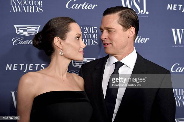 Entertainment Innovator Angelina Jolie Pitt and Brad Pitt attend the WSJ Magazine 2015 Innovator Awards at the Museum of Modern Art on November 4...