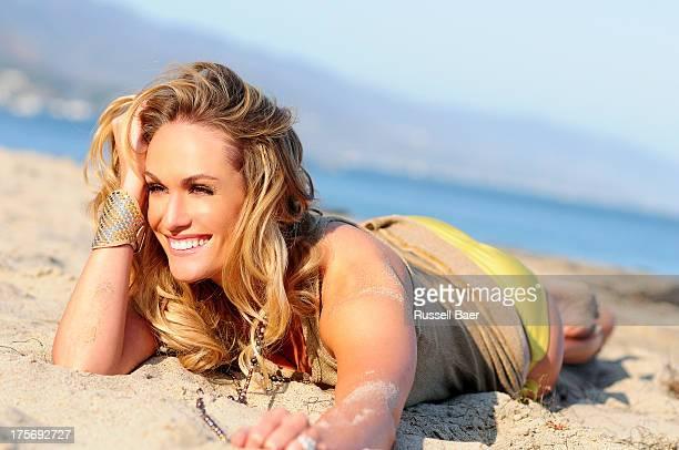 Entertainment journalist Ashlan Gorse is photographed for Coco Eco Magazine on July 1 2013 in Malibu California PUBLISHED IMAGE