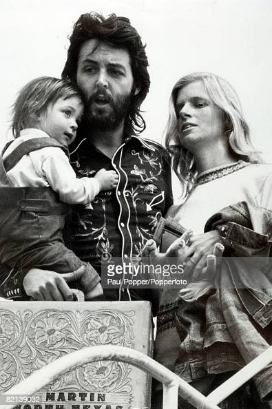 13th May 1971 Copenhagen Former Beatle Paul McCartney with his wife Linda and daughter Mary at Gatwick Airport